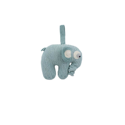 Sebra Crochet Elephant Musical Pull Toy - Blue Lagoon-Baby Mobiles- Natural Baby Shower