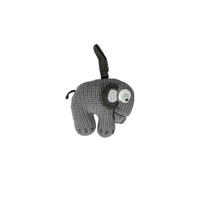 Sebra Crochet Elephant Musical Pull Toy - Classic Grey-Baby Mobiles- Natural Baby Shower