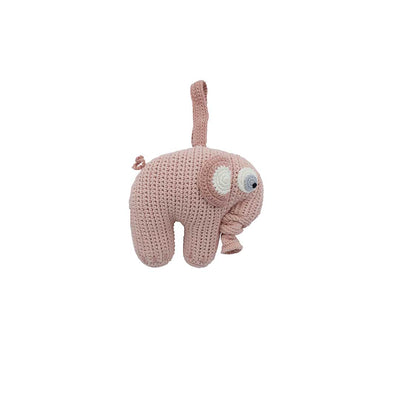 Sebra Crochet Elephant Musical Pull Toy - Grapefruit-Baby Mobiles- Natural Baby Shower