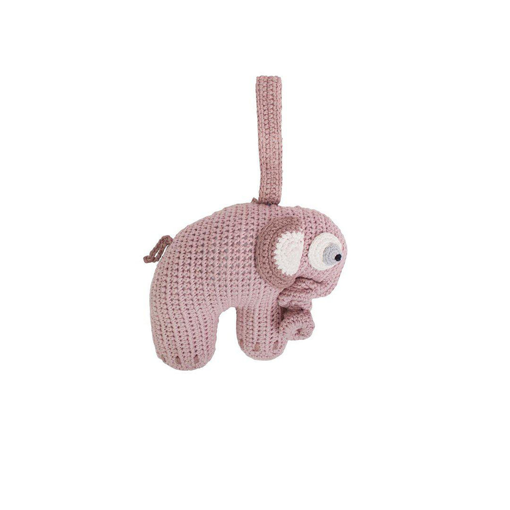 Sebra Crochet Elephant Musical Pull Toy - Midnight Plum-Baby Mobiles- Natural Baby Shower