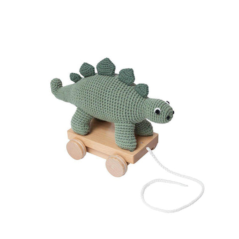 Sebra Crochet Pull-Along Toy - Dino-Baby Walkers- Natural Baby Shower