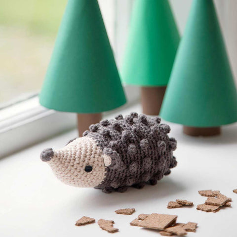 Sebra Crochet Rattle - Rolly the Hedgehog - Pinecone Brown-Rattles- Natural Baby Shower