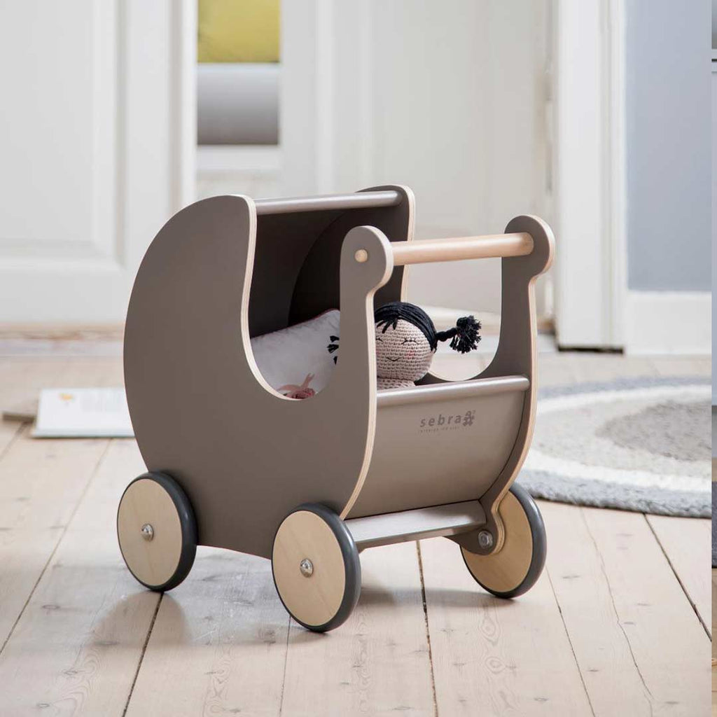 Sebra Wooden Dolls Pram - Warm Grey-Play Sets- Natural Baby Shower
