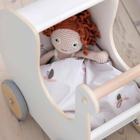 Sebra Wooden Dolls Pram - White-Dolls Prams & Accessories- Natural Baby Shower