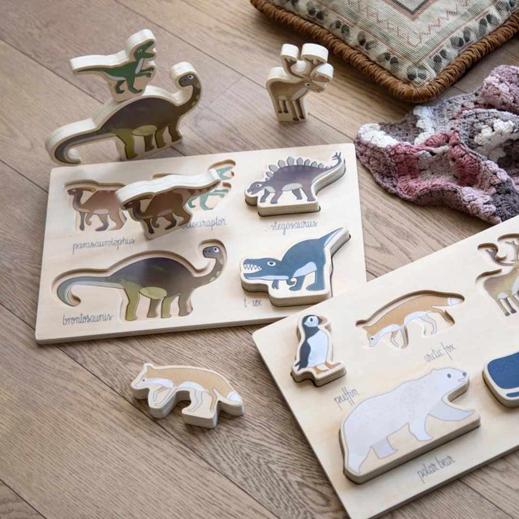 Sebra Wooden Puzzle - Dino-Puzzles- Natural Baby Shower
