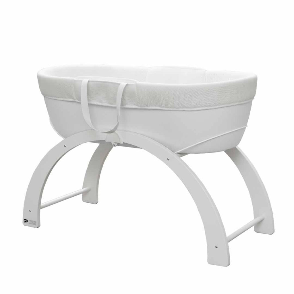 Shnuggle Curved Folding Stand in White with Basket