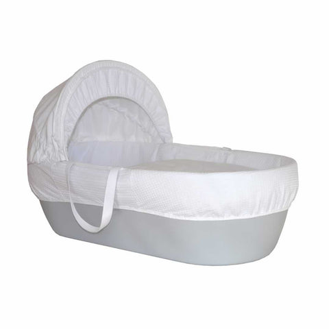 Shnuggle Waffle Moses Basket Grey + Curved Stand White - Ex-Display
