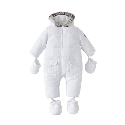 Silver Cross Classic Quilt Snowsuit - White-Coats & Snowsuits- Natural Baby Shower