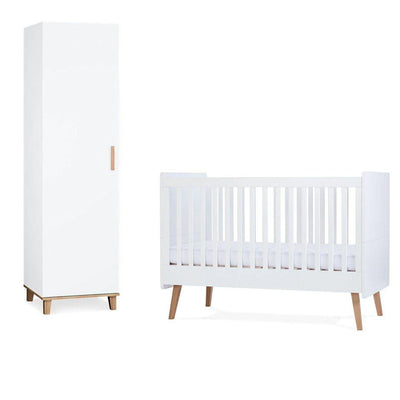 Silver Cross Cot Bed + Wardrobe - Brighton-Nursery Sets-No Mattress- Natural Baby Shower