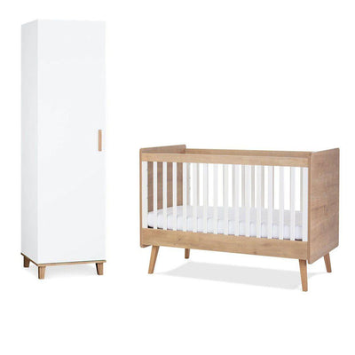 Silver Cross Cot Bed + Wardrobe - Westport-Nursery Sets-No Mattress- Natural Baby Shower