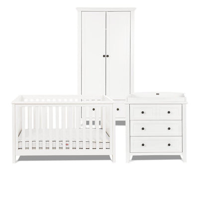 Silver Cross Nostalgia 3 Piece Furniture Set - Pure White-Nursery Sets-No Mattress- Natural Baby Shower