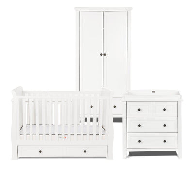 Silver Cross Nostalgia Sleigh 3 Piece Furniture Set - Pure White-Nursery Sets-No Mattress- Natural Baby Shower