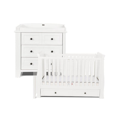 Silver Cross Nostalgia Sleigh Cot Bed + Dresser - Pure White-Nursery Sets-No Mattress- Natural Baby Shower