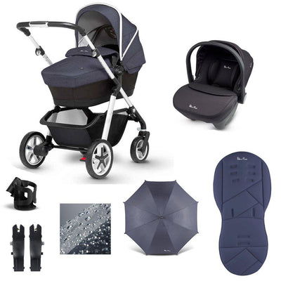 Silver Cross Pioneer 10 Piece Bundle - 2020 - Midnight-Travel Systems- Natural Baby Shower