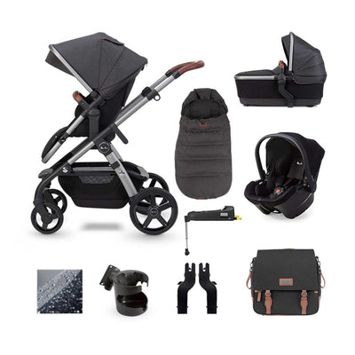 Silver Cross Wave Simplicity Plus + Base Bundle - Charcoal-Travel Systems- Natural Baby Shower