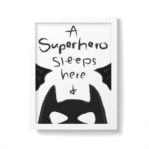 Snuz A Superhero Sleeps Here Nursery Print - Monochrome-Nursery Accessories- Natural Baby Shower