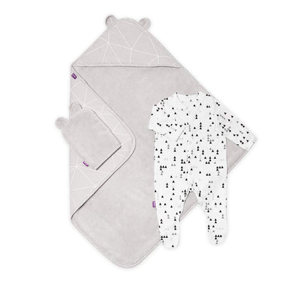 Snuz Baby Bath & Bed Set - Geo Mono-Towels & Robes-Geo Mono-One Size- Natural Baby Shower