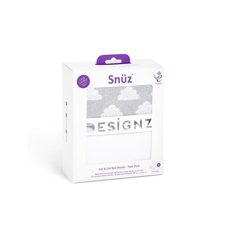 Snuz Cot & Cot Bed Fitted Sheets - Cloud Nine - 2 Pack-Sheets- Natural Baby Shower