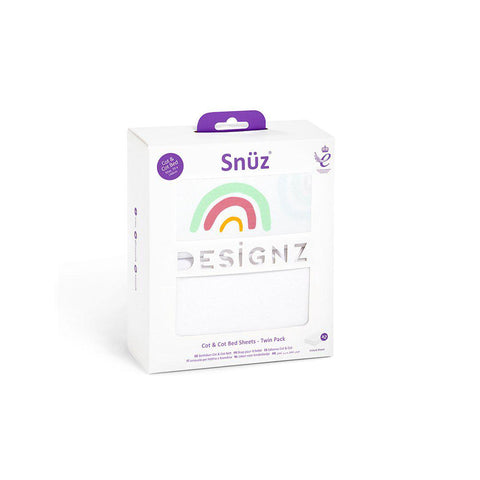 Snuz Cot & Cot Bed Fitted Sheets - Colour Rainbow - 2 Pack-Sheets- Natural Baby Shower