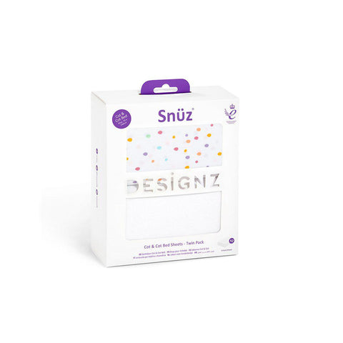 Snuz Cot & Cot Bed Fitted Sheets - Colour Spots - 2 Pack-Sheets- Natural Baby Shower