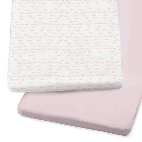 Snuz Crib 2 Pack Fitted Sheets - Rose Wave Dash-Sheets- Natural Baby Shower