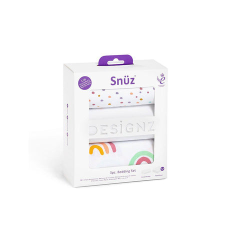 Snuz Crib Bedding Set - Colour Rainbow - 3pc-Bedding Sets- Natural Baby Shower