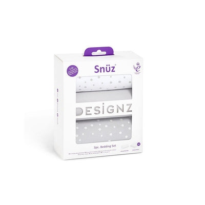 Snuz Crib Bedding Set - Grey Spots - 3pc-Bedding Sets- Natural Baby Shower