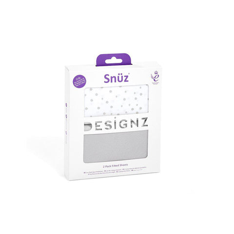 Snuz Crib Fitted Sheets - Grey Spots - 2 Pack-Sheets- Natural Baby Shower