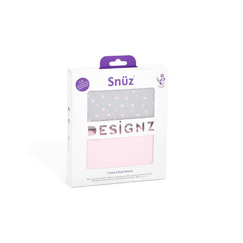 Snuz Crib Fitted Sheets - Rose Spots - 2 Pack-Sheets- Natural Baby Shower