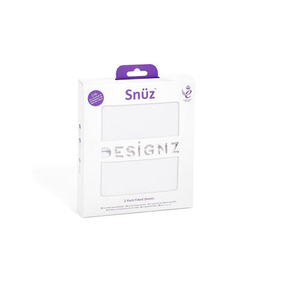 Snuz Crib Fitted Sheets - White - 2 Pack-Sheets- Natural Baby Shower