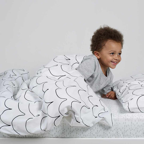 Snuz Designz Duvet + Pillow Case Set - Mono Wave-Bedding Sets- Natural Baby Shower