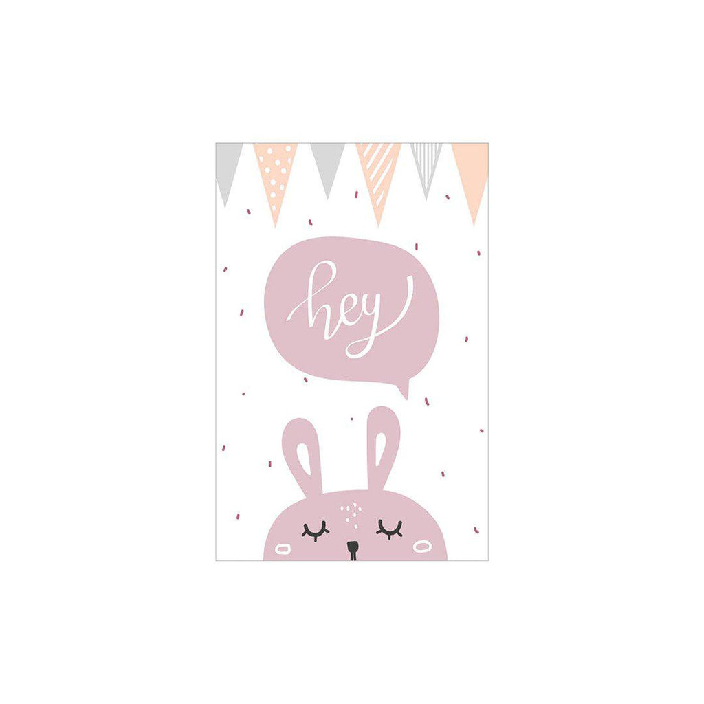 Snuz Hey Bunny Nursery Print - Pink-Artwork & Stickers- Natural Baby Shower