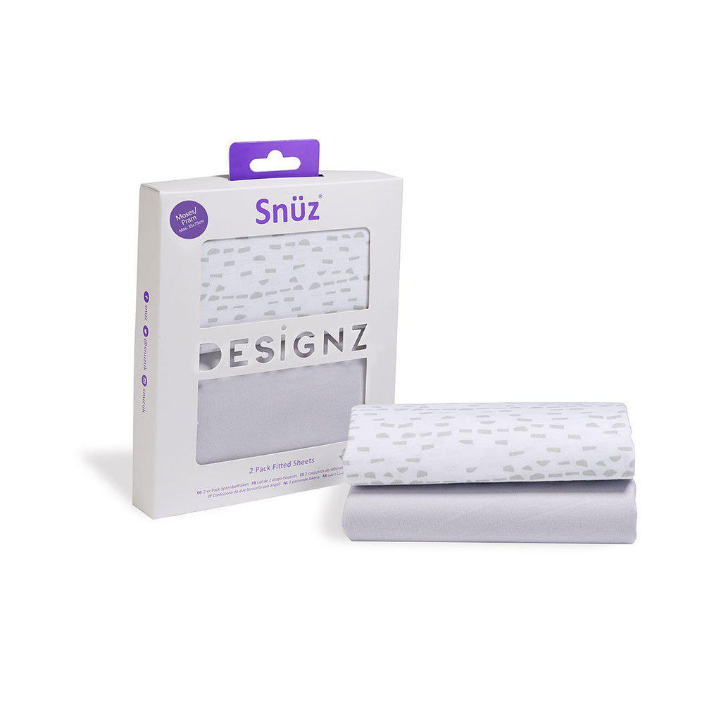 Snuz Moses Basket/Pram 2 Pack Fitted Sheets Mono Wave