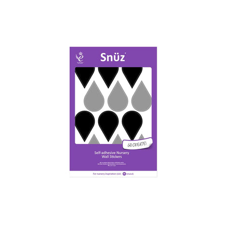 Snuz Nursery Wall Stickers - Black/Grey Raindrops-Nursery Accessories- Natural Baby Shower