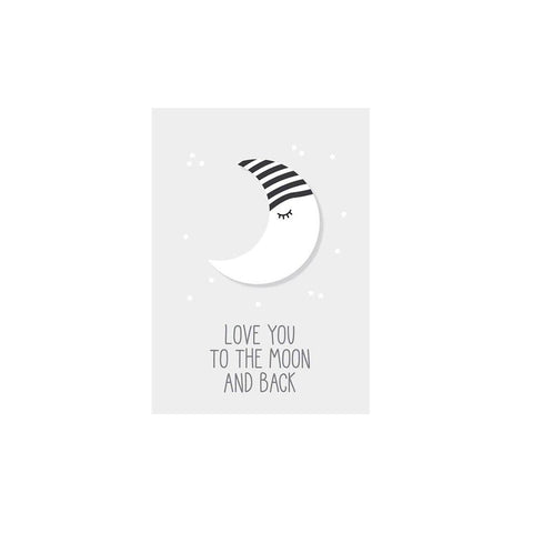 Snuz To The Moon & Back Nursery Print - Grey-Nursery Accessories- Natural Baby Shower