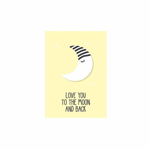Snuz To The Moon & Back Nursery Print - Yellow-Artwork & Stickers- Natural Baby Shower