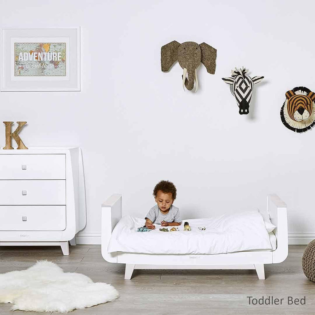SnuzKot Luxe Cot Bed - Whitewash Lifestyle 1