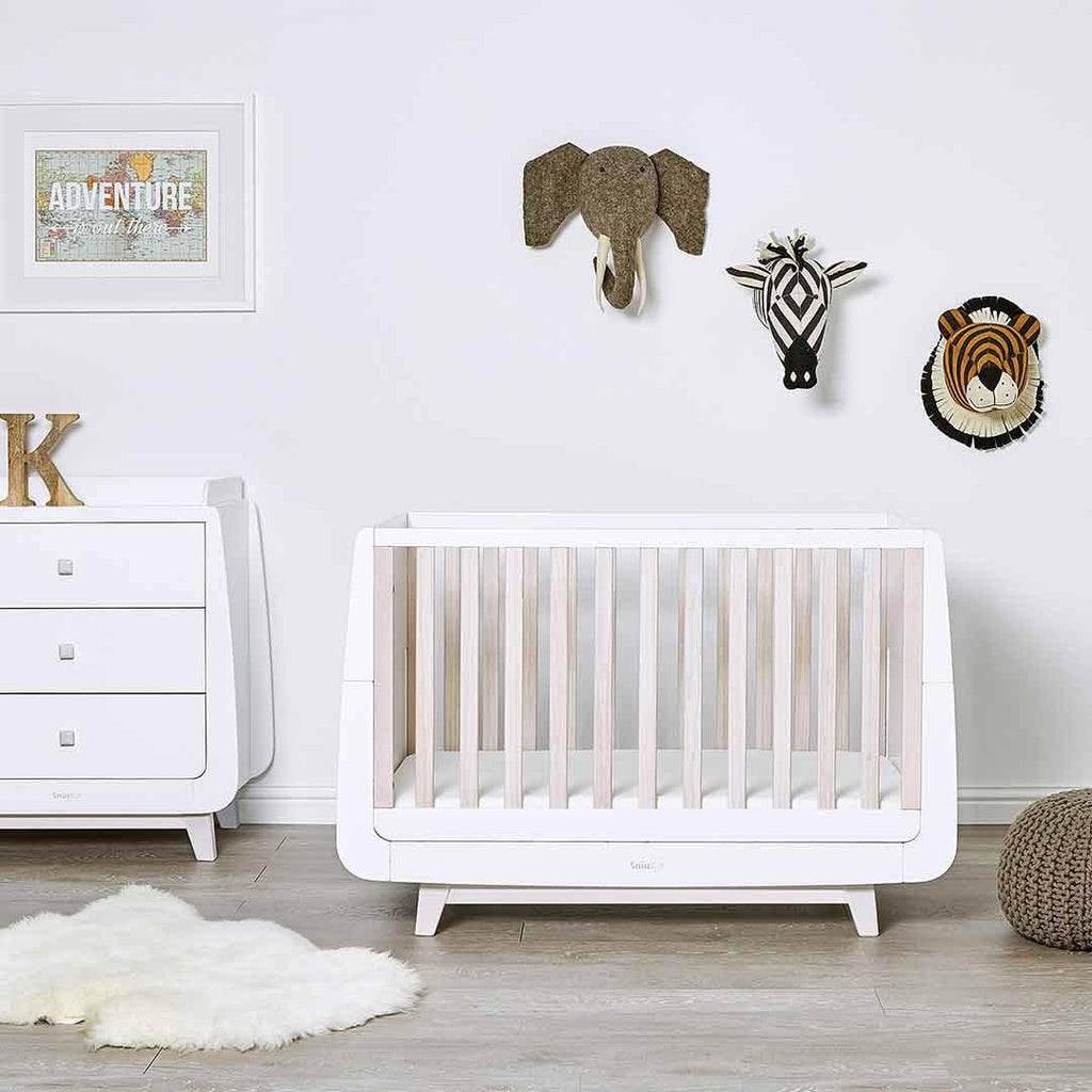 SnuzKot Luxe Cot Bed - Whitewash Lifestyle