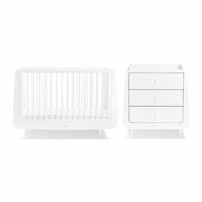 SnuzKot Rococo 2 Piece Nursery Furniture Set - White-Nursery Sets- Natural Baby Shower