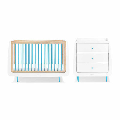 SnuzKot Skandi 2 Piece Nursery Furniture Set - Blue-Nursery Sets- Natural Baby Shower