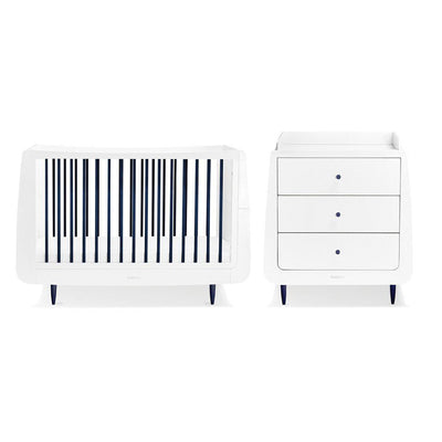 SnuzKot Skandi 2 Piece Nursery Furniture Set - Metallic - Navy-Nursery Sets- Natural Baby Shower