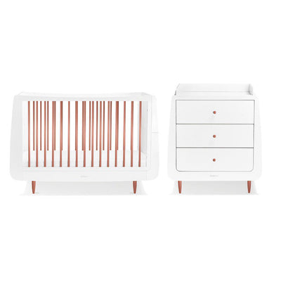 SnuzKot Skandi 2 Piece Nursery Furniture Set - Metallic - Rose Gold-Nursery Sets- Natural Baby Shower