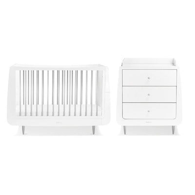 SnuzKot Skandi 2 Piece Nursery Furniture Set - Metallic - Silver-Nursery Sets- Natural Baby Shower
