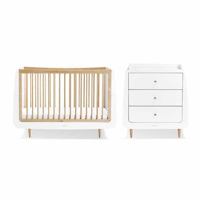 SnuzKot Skandi 2 Piece Nursery Furniture Set - Natural-Nursery Sets- Natural Baby Shower