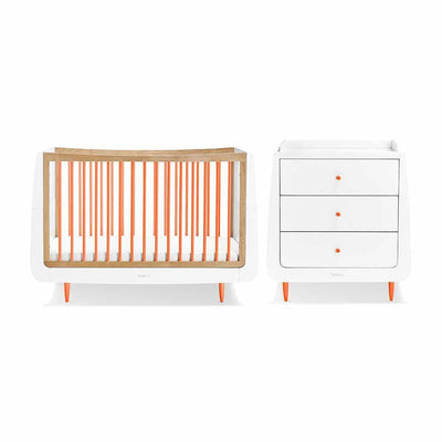 SnuzKot Skandi 2 Piece Nursery Furniture Set - Orange-Nursery Sets- Natural Baby Shower