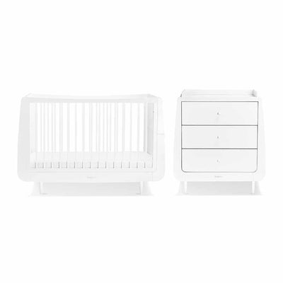 SnuzKot Skandi 2 Piece Nursery Furniture Set - White-Nursery Sets- Natural Baby Shower
