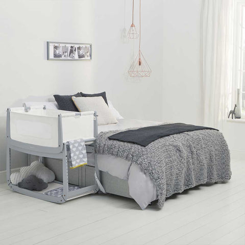 SnuzPod 3 Bedside Crib with Mattress - Dove Grey-Cribs-Default- Natural Baby Shower