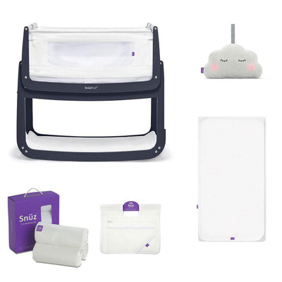 SnuzPod4 Bedside Crib + Accessories Bundle - Navy-Cribs-Default- Natural Baby Shower