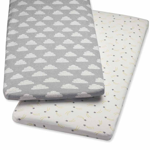 Snuz Crib 2 Pack Fitted Sheets - Cloud Nine-Sheets- Natural Baby Shower