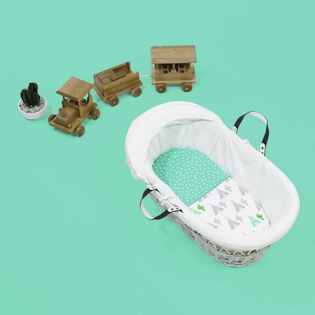 SnuzPod Twin Pack Moses Basket Sheet Rootin' Tootin' Lifestyle